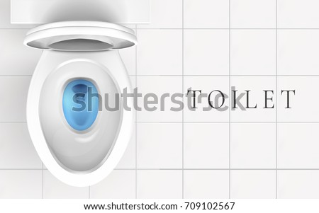 Top View Of Toilet Bowl And Bathroom Floor With White Tile In 3d Illustration
