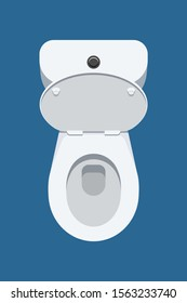 Top view of toilet bowl with open lid isolated on blue background. Vector illustration