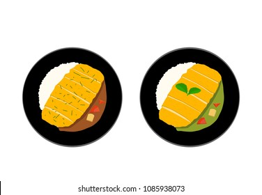 Top view, Tonkatsu or Curry rice with Fried Pork, vector art