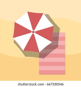Top view of Towel and Umbrella on Sand, For Summer Icon, Background Design.