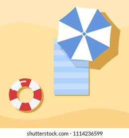 Top view of Towel, Umbrella and swim tube on Sand, For Summer Icon, Background Design.