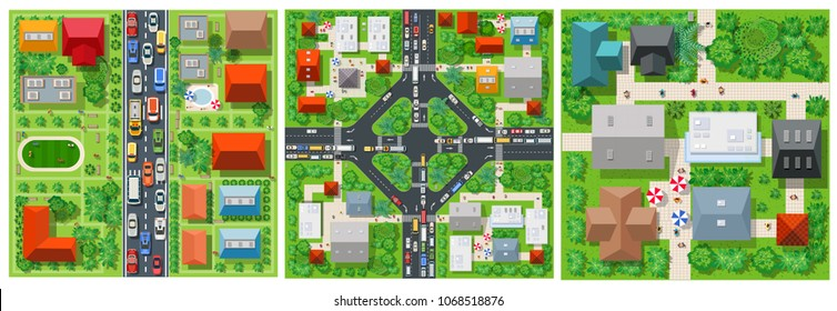 Top view transport of the road on the city street with junction traffic car. Transportation vector illustration of way map with asphalt highway