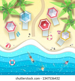 Top view of tropic summer beach with ocean background. Paper cut out art design