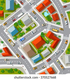 Top view of the  Urban crossroads with cars and houses