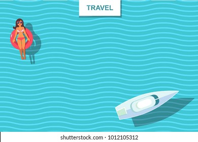 top view vector banner with sunbathing girl and boat