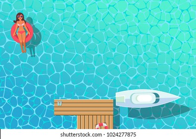 top view vector banner with sunbathing girl and boat and wooden pier