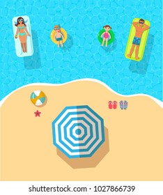 top view vector banner with  swimming and sunbathing family on the island. Summer holidays