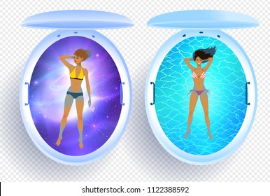 Top view vector collection of illustrations of women and floating tank with blue water and cosmos.