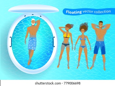 Top view vector collection of illustrations of people and floating tank with blue water.