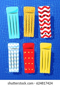 Top view vector collection of pool rafts floating on water.