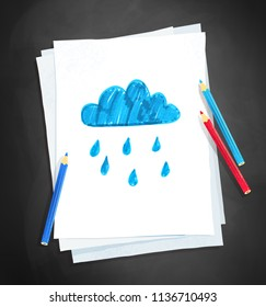 Top view vector illustration of child drawing of rainy cloud on white paper on chalkboard background with pencils.