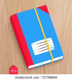 Top view vector illustration of closed notebook with realistic shadow on wooden table background.
