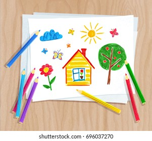 Top view vector illustration of color pencils lying on paper with child drawing of house, tree and sun on light wooden desk background.