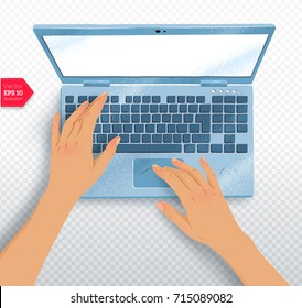 Top view vector illustration of hands with laptop with realistic shadow on transparency background.