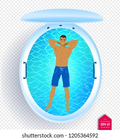 Top view vector illustration of man resting in floating tank with blue water.