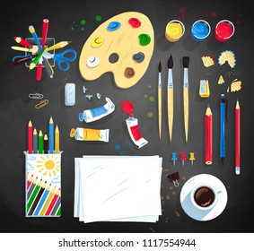 Top view vector illustration set of artist workplace on blackboard background.