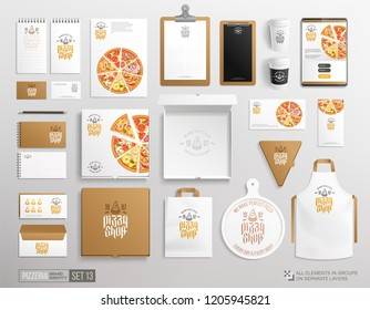 Top view White brand identity set of Pizzeria A3 poster, brochure, box, flyer, menu, package. Concept of logo Pizza shop, restaurant stationery mockup set for advertising and decoration