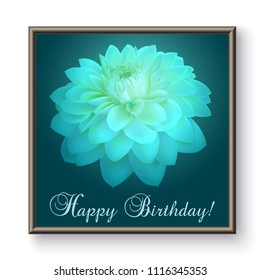 Top view of white chrysanthemum flower isolated on dark background with a Happy Birthday wording.
