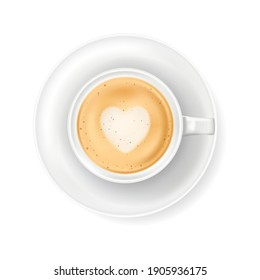 Top view at white coffee cup on plate. Realistic vector illustration of hot coffee drink mug - cappucino or latte. 3d caffeine latte art beverage element for cafe menu