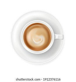 Top view at white coffee cup on plate. Realistic vector illustration of hot coffee drink mug - cappucino or latte. 3d caffeine beverage element for cafe menu