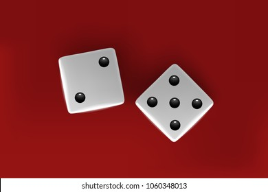 Top view of white dice. Casino dice on red background.