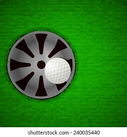 Top top view of white golf ball inside hole (EPS10 art vector separate part by part)