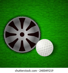 Top top view of white golf ball beside hole (EPS10 art vector separate part by part)