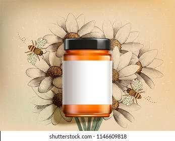 Top view of wildflower honey product with blank label in 3d illustration on retro engraved wildflower background