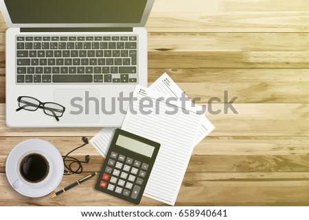 top view work desk laptop computer stock vector royalty free