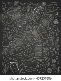 Top view of work place. Chalk doodles gadgets and office supplies on blackboard background. 70+ items. Top view. Design elements for work and education. Stationery and gadgets, food and plants.