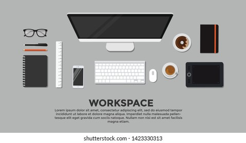 Top view of working desk with gadget and free space for text. Design illustration of modern business office and workspace. Vector stock