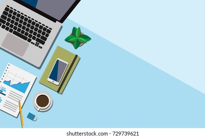 Top view of working space on business desk with laptop, a cup of coffee, working paper with business graph and mobile phone with copy space for your text