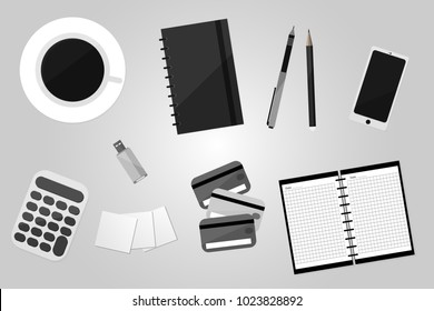 Top View of Workplace with Business Work Flow Items and Gadgets. Flat design vector illustration.
