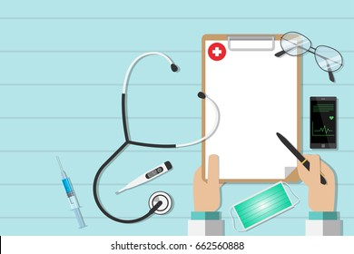 top view workplace of a doctor with equipment, health concept