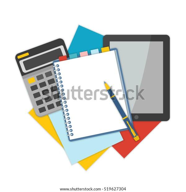 Vista superior del lugar de trabajo con documentos. Conceptos para análisis de negocios, consultoría y auditoría financiera. Brainstorm y cálculos. Ilustración vectorial.