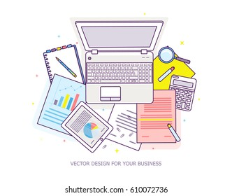 Top view of workplace with documents and laptop. Concepts for business analysis, consulting, teamwork, project management, financial report and strategy. Vector illustration.