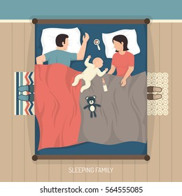Top view of young family sleeping at home on double bed with nursing baby flat vector illustration