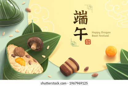 Top view of zongzi and ingredients scattered on the desk. Banner for Duanwu Festival in 3d style. Chinese translation: Dragon Boat Festival on the 5th day of the fifth lunar month