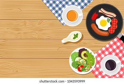 Top viewed table set of breakfast or food on wooden surface background in flat design style.