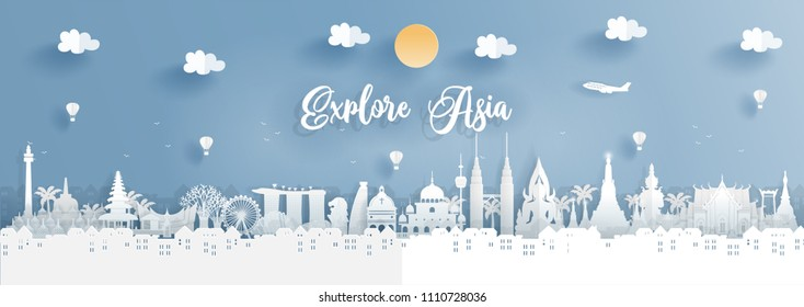 Top world famous landmark of Asia for travel poster and postcard, Thailand, Malaysia, Singapore and Indonesia  in paper origami style vector illustration.