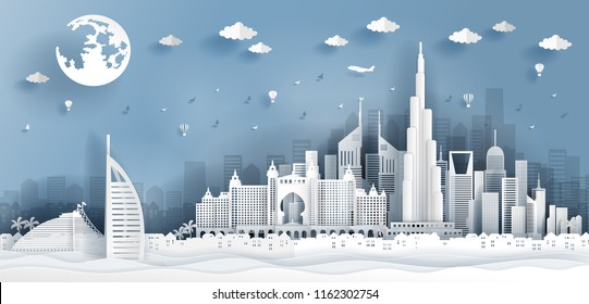 Top world famous landmark with landmark of Dubai building and architecture, skyline in paper cut art style. Vector illustration.