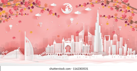 Top world famous landmark with landmark of Dubai building and architecture, skyline in autumn season, paper cut art style. Vector illustration.