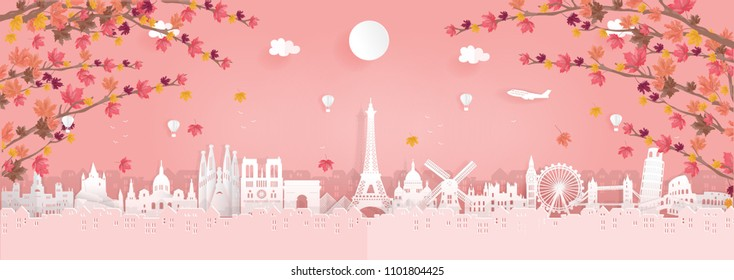 Top world famous landmark for travel poster and postcard, Autumn season in France,England,Spain,Italy in paper origami style vector illustration.
