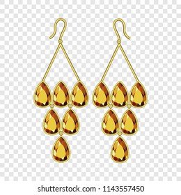 Topaz earrings mockup. Realistic illustration of topaz earrings vector mockup for on transparent background