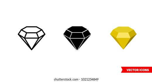 Topaz symbol icon of 3 types: color, black and white, outline. Isolated vector sign symbol.
