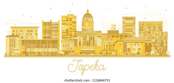 Topeka Kansas City Skyline Golden Silhouette. Vector Illustration. Business Travel and Tourism Concept with Modern Architecture. Topeka Cityscape with Landmarks.