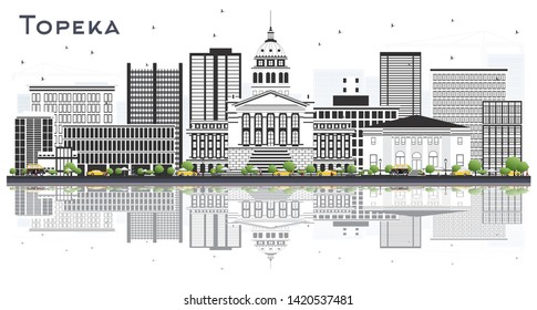 Topeka Kansas City Skyline with Gray Buildings and Reflections Isolated on White. Vector Illustration. Business and Tourism Concept with Modern Architecture. Topeka USA Cityscape with Landmarks.