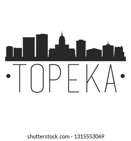 Topeka Kansas. City Skyline. Silhouette City. Design Vector. Famous Monuments.