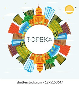Topeka Kansas USA City Skyline with Color Buildings, Blue Sky and Copy Space. Vector Illustration. Business Travel and Tourism Concept with Modern Architecture. Topeka Cityscape with Landmarks.