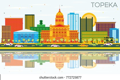Topeka Kansas USA Skyline with Color Buildings, Blue Sky and Reflections. Vector Illustration. Business Travel and Tourism Concept with Modern Architecture.